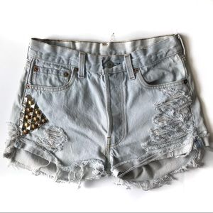 Levi's 501 Distressed Studded Shorts